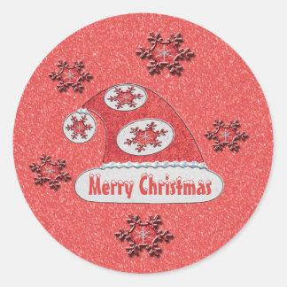 Cinnabar Santa Hat Valencia Snow Classic Round Sticker