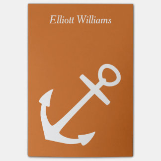 Cinnamon and White Personalized Anchor Post-it® Notes
