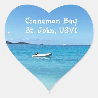Cinnamon Bay, St. John USVI Heart Sticker