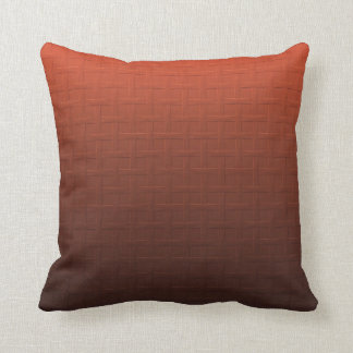 Cinnamon Brown Orange Gradient Basket Weave Design Throw Pillow