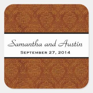 Cinnamon Damask Save the Date Wedding V04 Square Sticker