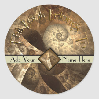 Cinnamon & Ginger Fractal Bookplate Round Sticker