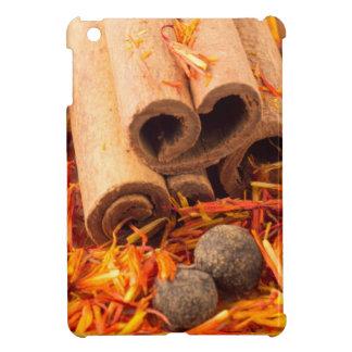 Cinnamon, peppercorn and saffron close-up cover for the iPad mini