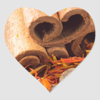 Cinnamon, peppercorn and saffron close-up heart sticker