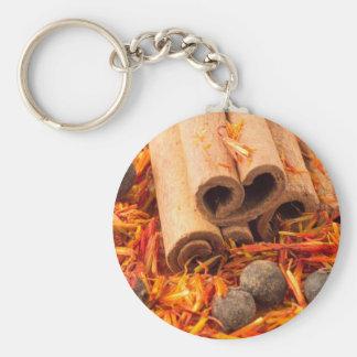 Cinnamon, peppercorn and saffron close-up keychain