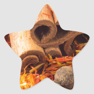 Cinnamon, peppercorn and saffron close-up star sticker