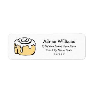 Cinnamon Roll Honey Bun Cartoon Personalized Return Address Label