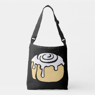 Cinnamon Roll Honey Bun Cute Cartoon Design Black Crossbody Bag