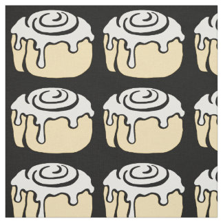 Cinnamon Roll Honey Bun Cute Cartoon Design Black Fabric