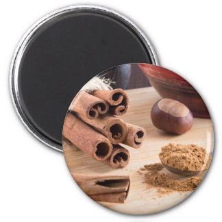 Cinnamon sticks and powder magnet