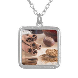 Cinnamon sticks and powder silver plated necklace