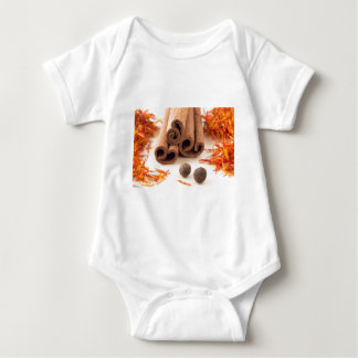 Cinnamon sticks, aromatic saffron and pimento baby bodysuit