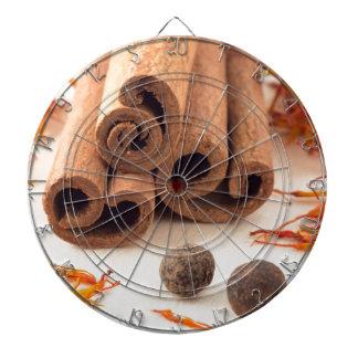 Cinnamon sticks, aromatic saffron and pimento dartboard