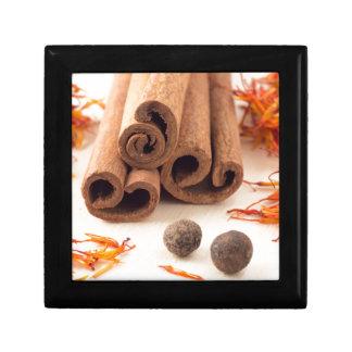Cinnamon sticks, aromatic saffron and pimento gift box