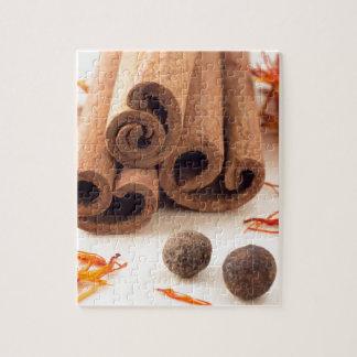 Cinnamon sticks, aromatic saffron and pimento jigsaw puzzle