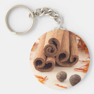 Cinnamon sticks, aromatic saffron and pimento keychain