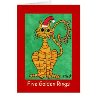 Cinq anneaux d'or carte de vœux