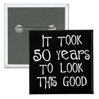 cinquantième anniversaire, 50 ans pour regarder ce macaron carré 5 cm