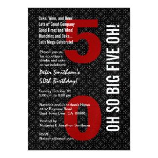 cinquantième Anniversaire GRANDS CINQ rouges Carton D'invitation 12,7 Cm X 17,78 Cm