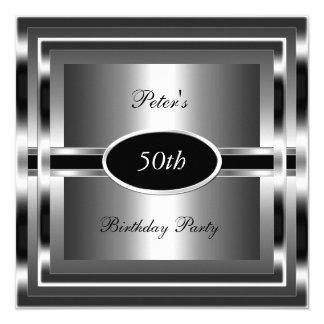 Cinquantième argent de noir de fête d'anniversaire carton d'invitation  13,33 cm