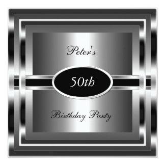 Cinquantième argent de noir de fête d'anniversaire faire-parts