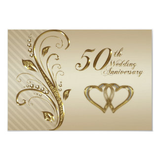 cinquantième Carte de l'anniversaire de mariage Carton D'invitation 8,89 Cm X 12,70 Cm