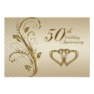 cinquantième Carte de l'anniversaire de mariage RS Invitation Personnalisée