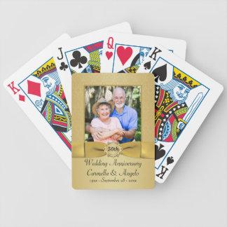 cinquantième Cartes de jeu de damassé d'or d'anniv Cartes À Jouer