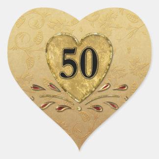 cinquantième Coeur d'or d'anniversaire Autocollants En Cœur