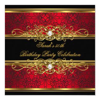 Cinquantième damassé noire rouge élégante d'or de carton d'invitation  13,33 cm