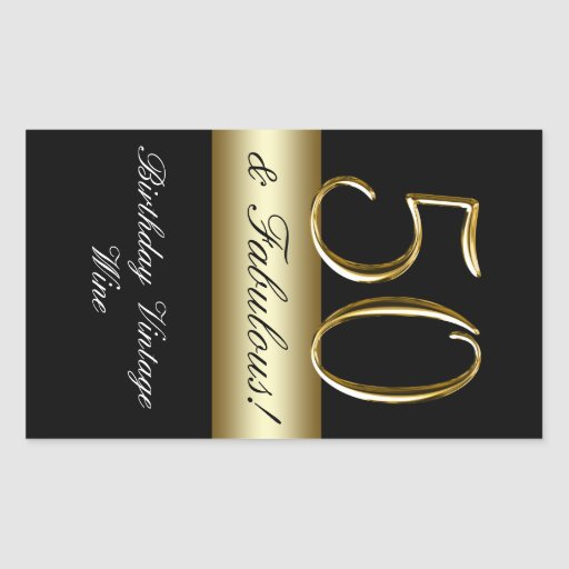 Cinquantième étiquette de vin d'anniversaire d'or stickers rectangulaires