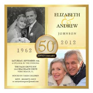 cinquantième Invitations de photo d anniversaire