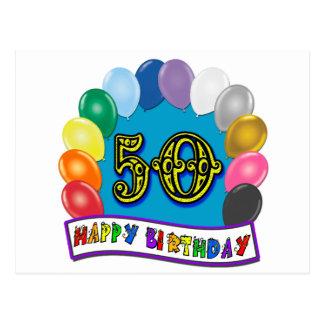 Cinquantième marchandises heureuses d'anniversaire carte postale