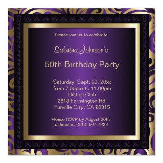 cinquantième Métallique pourpre et or de la fête Carton D'invitation 13,33 Cm