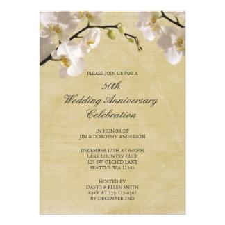 cinquantième Orchidée blanche vintage d'anniversai Cartons D'invitation