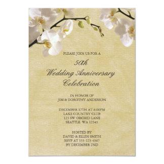 cinquantième Orchidée blanche vintage Carton D'invitation 11,43 Cm X 15,87 Cm