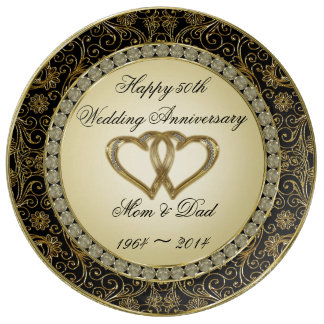 cinquantième Plat de porcelaine d'anniversaire de Assiettes En Porcelaine