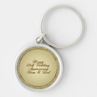 cinquantième Porte - clé d'anniversaire de mariage Porte-clé Rond Argenté