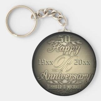 cinquantième Porte - clé d'or d'anniversaire Porte-clé Rond