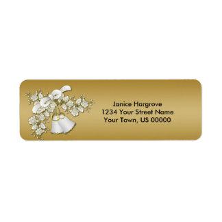 cinquantième Roses blancs de Bells de mariage Étiquettes D'adresse Retour