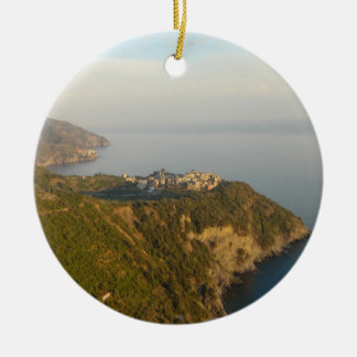 Cinque Terre from Afar Ceramic Ornament