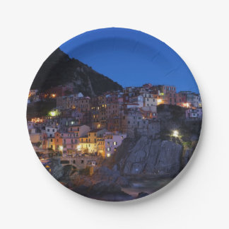 Cinque Terre Italy at night Paper Plate