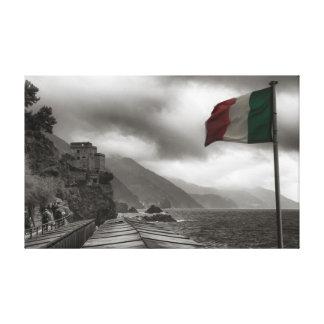 Cinque Terre, Italy -  Cloudy Coastline Canvas Print