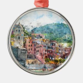 Cinque Terre Italy Silver-Colored Round Ornament