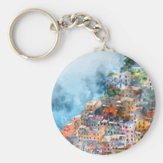 Cinque Terre Italy Watercolor Basic Round Button Keychain