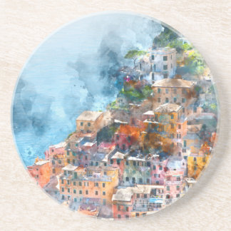 Cinque Terre Italy Watercolor Drink Coaster