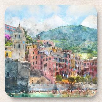 Cinque Terre Italy Watercolor Drink Coasters