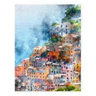 Cinque Terre Italy Watercolor Postcard