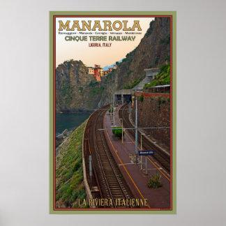 Cinque Terre Railway at Manarola Poster