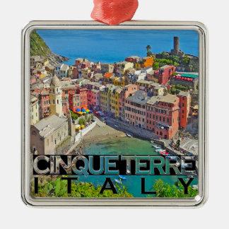 Cinque Terre Silver-Colored Square Ornament